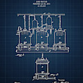 1873 Brewing Beer Apparatus - Dark Blue Blueprint by Aged Pixel