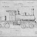 1891 Huber Locomotive Engine Gray Patent Print by Greg Edwards