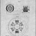1896 Tesla Alternating Motor Gray Patent Print by Greg Edwards