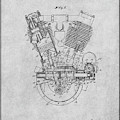 1914 Spacke V Twin Motorcycle Engine Gray Patent Print by Greg Edwards