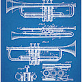 1916 Trumpet And Cornet Blueprint Patent Print by Greg Edwards