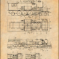1925 Turbine Driven Locomotive Antique Paper Patent Print  by Greg Edwards