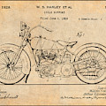 1928 Harley Davidson Motorcycle Antique Paper Patent Print by Greg Edwards
