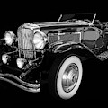 1935 Duesenberg Ssj Roadster Black And White by TL Mair