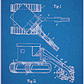 1937 Backhoe Excavator Blueprint Patent Print by Greg Edwards