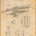 1937 Trumpet Antique Paper Patent Print by Greg Edwards