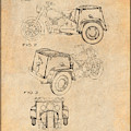 1952 3 Three Wheel Motorcycle Antique Paper Patent Print by Greg Edwards
