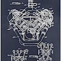 1954 Chrysler 426 Hemi V8 Engine Blackboard Patent Print by Greg Edwards
