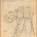 1982 Star Wars At-at Imperial Walker Antique Paper Patent Print by Greg Edwards
