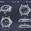 1999 Rolex Diving Watch Patent Print Blackboard by Greg Edwards