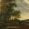 A Landscape With A Carriage And Horsemen At A Pool  by Salomon van Ruysdael