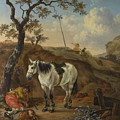 A White Horse Standing By A Sleeping Man  by Pieter Verbeeck