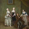 An Interior With Three Women And A Seated Man  by Pietro Longhi