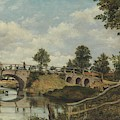 An Old Bridge At Hendon  Middlesex  by Frederick Waters Watts