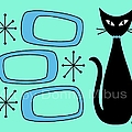 Cat With Mid Century Modern Oblongs by Donna Mibus