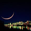 Moon Over Vancouver by David Nunuk