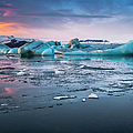 Sunset Over Jokulsarlon Glacial Ice by Ed Norton