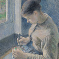 Young Peasant Having Her Coffee by Camille Pissarro