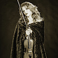 226.1854 Violin Musician Black And White by M K Miller