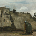 A Peasant Woman Digging In Front Of Her Cottage by Vincent van Gogh