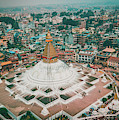 Stupa Temple Bodhnath Kathmandu, Nepal From Air October 12 2018 by Raimond Klavins