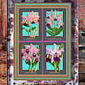 Antique Orchids Quatro On Rusted Metal And Weathered Wood Plank by Baptiste Posters