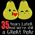 35th Wedding Anniversary Funny Pear Couple Gift by Carlos Ocon