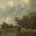 A River Landscape With Fishermen  by Salomon van Ruysdael