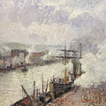 Steamboats In The Port Of Rouen  by Camille Pissarro