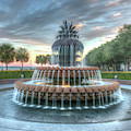 Pineapple Fountain Sunset - Charleston Sc by Dale Powell