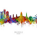 Brussels Belgium Skyline by Michael Tompsett