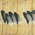6 Panel Screen Depicting Cranes, Edo Period  by Ogata Korin