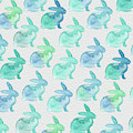Watercolor Bunnies 1i by Kathy Morton Stanion
