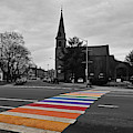 A Bright Rainbow On An Overcast Day Salem Ma Rainbow Crosswalk by Toby McGuire