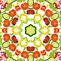 A Kaleidoscope Image Of Salad Vegetables by Andrew Bret Wallis