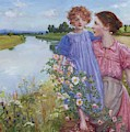 A Mother And Child By A River With Wild Roses 1919 by Butler Mildred Anne