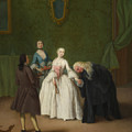 A Nobleman Kissing A Lady S Hand  by Pietro Longhi