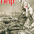 A Nurse Wearing The Red Cross On Her Clothing Helps A Wounded Soldier by English School