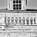 A Window And Balcony Black And White Vertical by Lisa Wooten