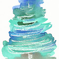 Abstract Fir Tree Christmas Watercolor Painting by Karen Kaspar