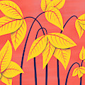 Abstract Flowers Geometric Art In Vibrant Coral And Yellow  by Boriana Giormova