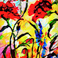 Abstract Red Poppies Provence by Ginette Callaway