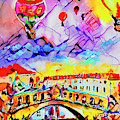 Abstract Venice Rialto Bridge Balloons by Ginette Callaway