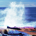 Crashing Waves At Schoodic Point Abstract by Anita Pollak