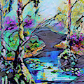 Abstract Wetland Trees And River by Ginette Callaway