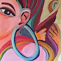 Abstract Woman With Earring by Cherylene Henderson