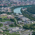 Aerial Of Evansdale Campus With River by Dan Friend