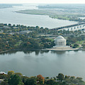 Aerial View Of The Jefferson Memorial, Potomac River And Tidal B by William Kuta