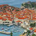 Aerial View Of The Old City Of  Dubrovnik by Steve Estvanik