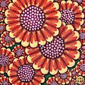 African Orange Daisy Tapestry by Amy E Fraser